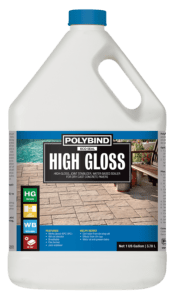 Polybind High gloss eco-seal. It is a joint stabilizer, water-based sealer for dry cast concrete pavers. Features: Works above 40 degrees celsius, will not discolor, breathable, film former, and joint stabilizer. Helps resist corrosion from de-icing salt, effects from UV rays and motor oil and grease stains. 1-Gallon bottle